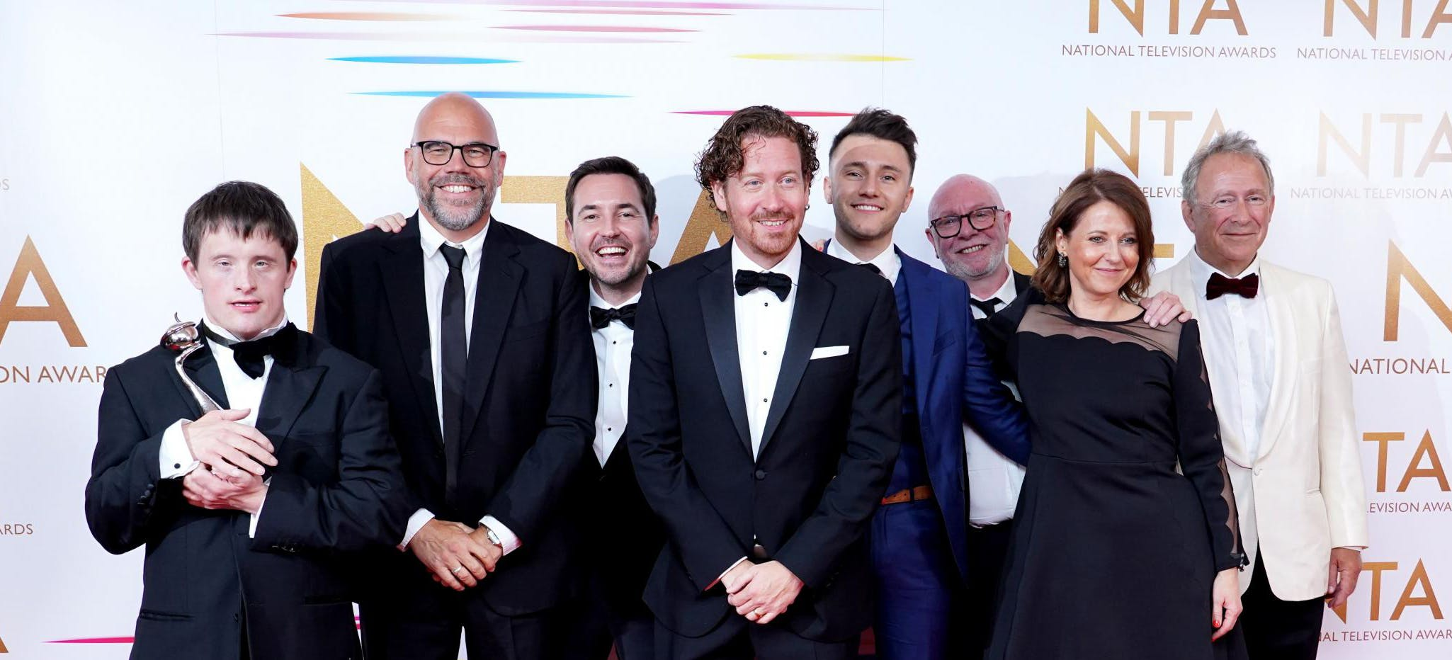 Image of Line of Duty cast and crew on the red carpet at the National TV Awards following their win for the Special Recognition Award