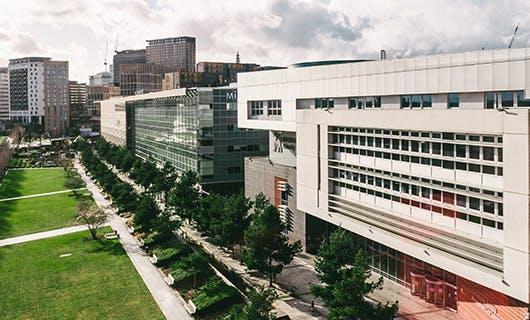 Photograph of city centre campus and Birmingham skyline.