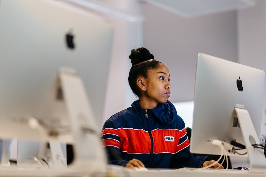 Media student working at a computer