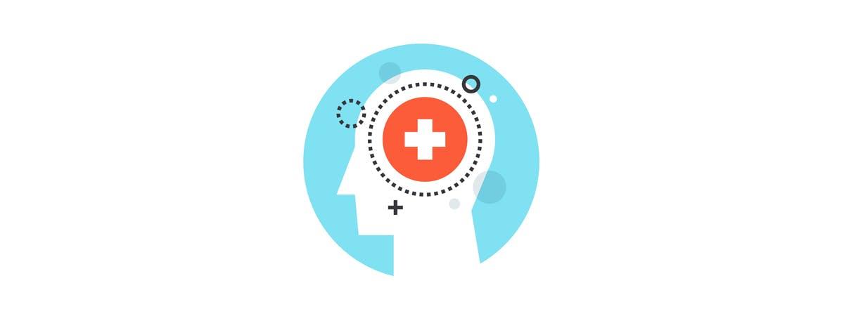 MHFA Article 1200x450 - Cartoon head with a medical cross