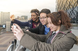 Students using mobile phones
