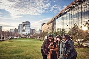 Students outside Millennium Point