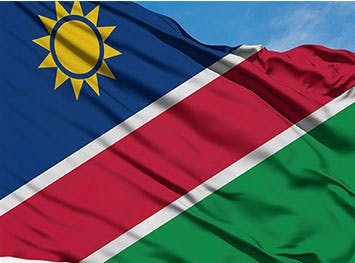 The national flag of Namibia