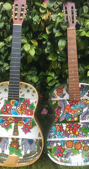 Neesha Sahota artwork of two guitars