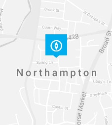Northampton pin on a map background