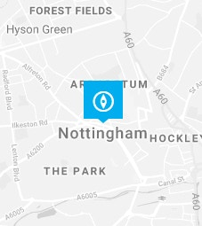 Nottingham pin on a map background