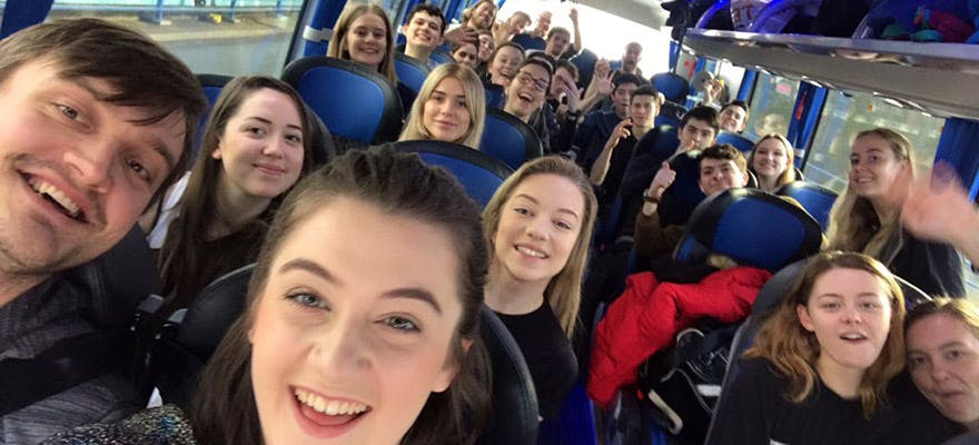 Acting showcase on the bus