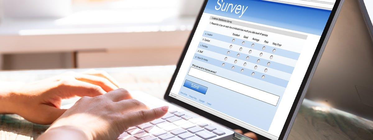 Person filling out an online survey