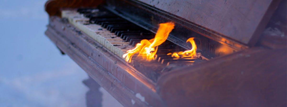 A burning piano