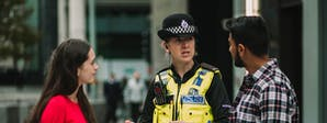 BSc Policing Course Image 1200 x 450 - Two students talking to a police officer