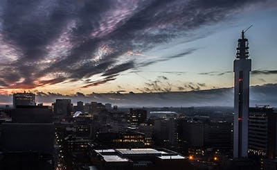 伯明翰市中心的地平线视图