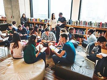 Students in university common area
