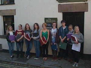 Pupils outside the Boat Inn