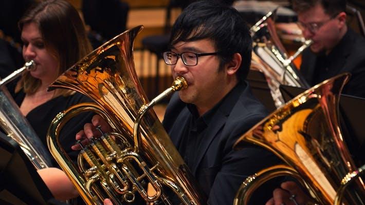 Brass band in Bradshaw Hall