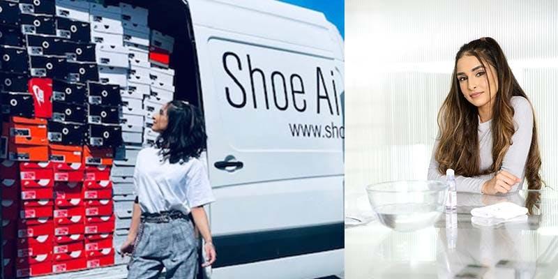 Rishika donating unwanted sneakers via Shoe Aid