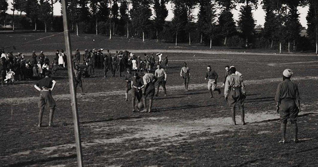 Muslim soldiers playing football ww1