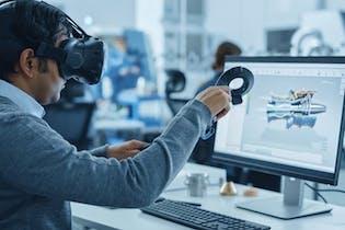 Photo of man using VR equipment