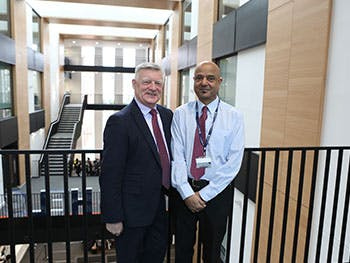 Labour MP Steve McCabe with BCU lecturer Ashok Patel