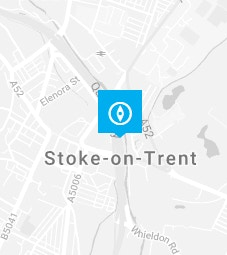 Stoke-on-Trent pin on a map background