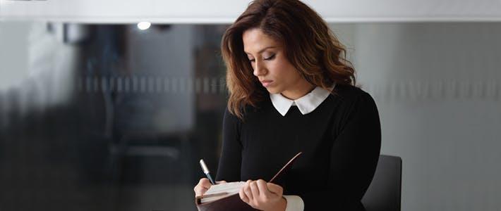 creative writing student at work