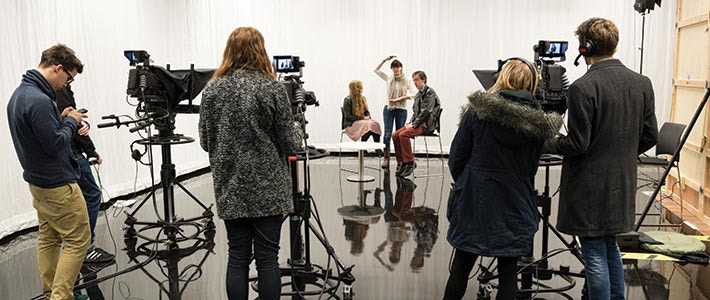 Students in Media TV studio