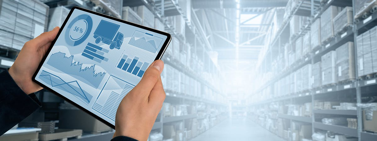A business implementing digital technology into their supply chain management.