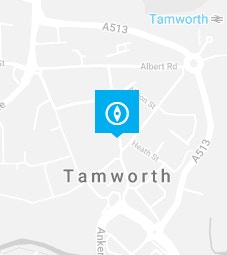 Tamworth pin on a map background