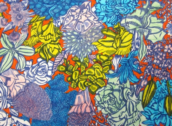 textile design flower blue yellow and orange