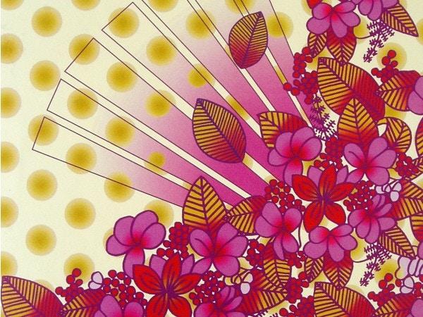 textile design flower and sun print design