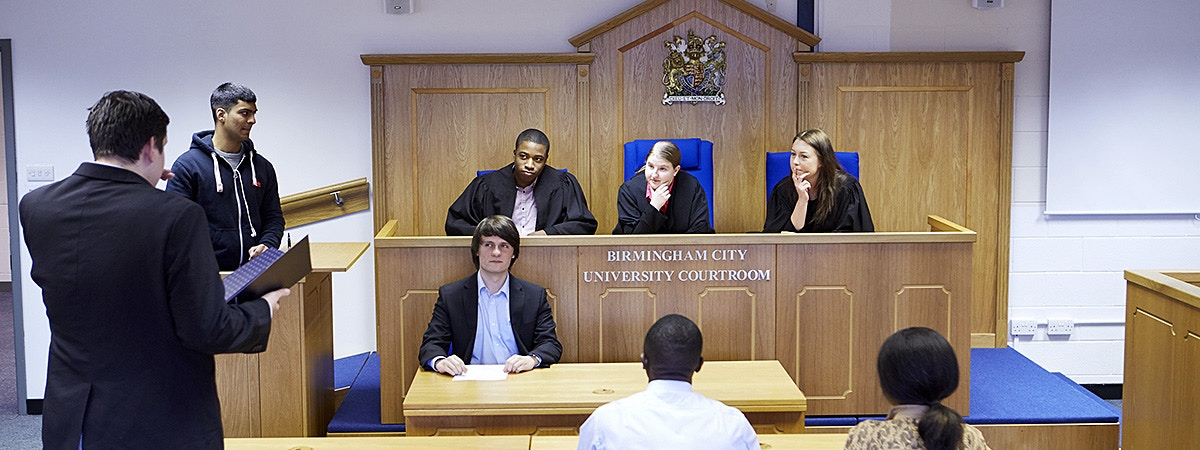 BCU Law students in mock courtroom.