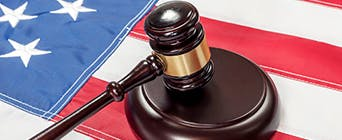American flag with a gavel
