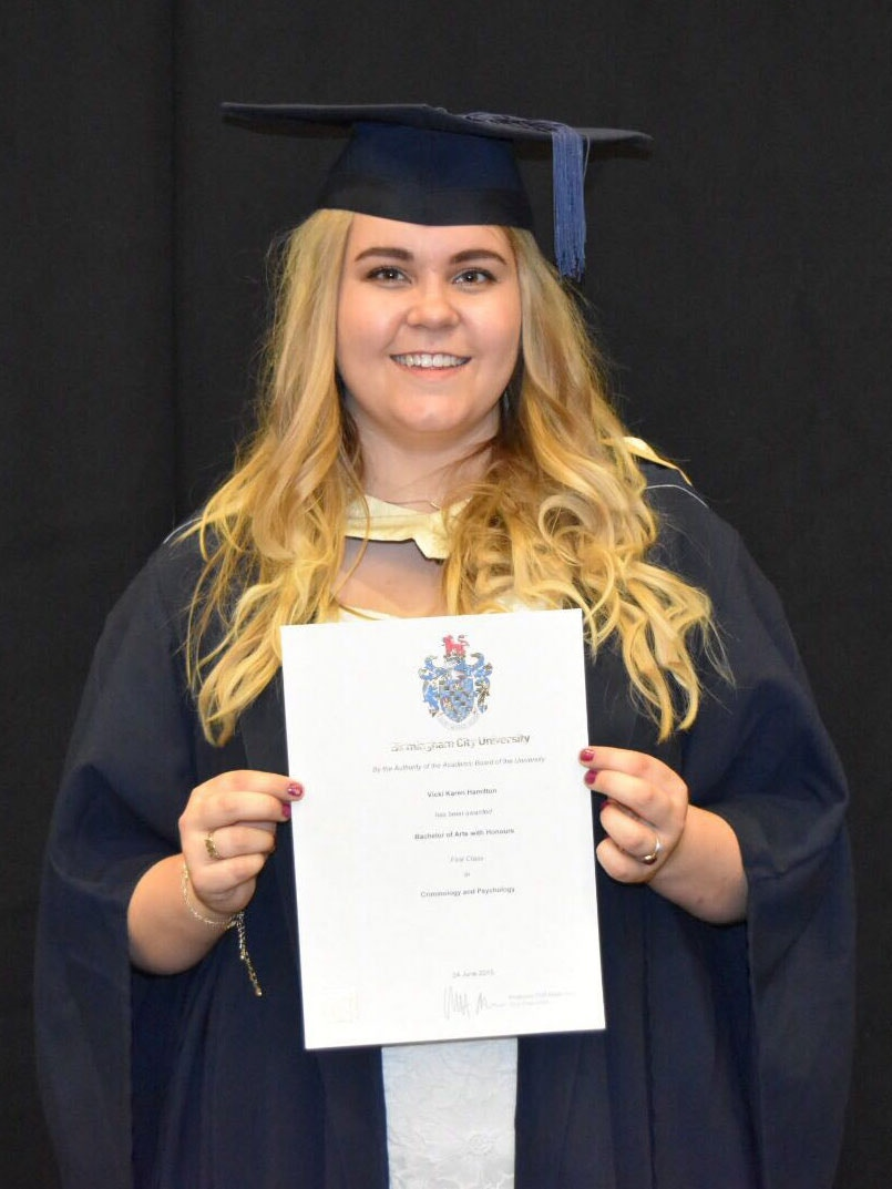 BA (Hons) Criminology and Psychology student Vicki Hamilton, who graduated with a First Class Honours has been granted the role of Anti-Social Behaviour Co-Ordinator for Stevenage Borough Council.