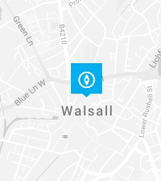 Walsall pin on a map background