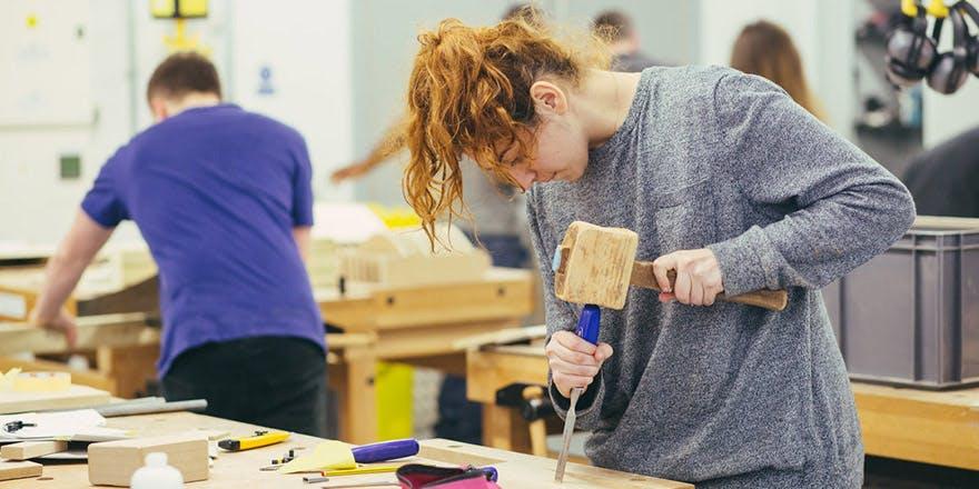 Student working in workshop