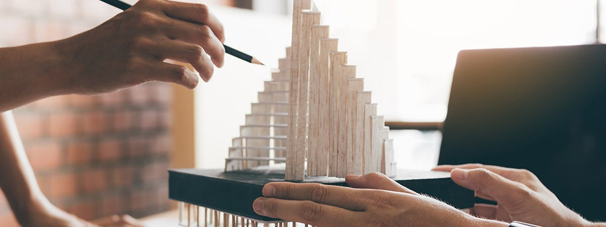 Architecture students working