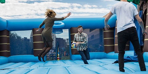 Students on bouncy castle