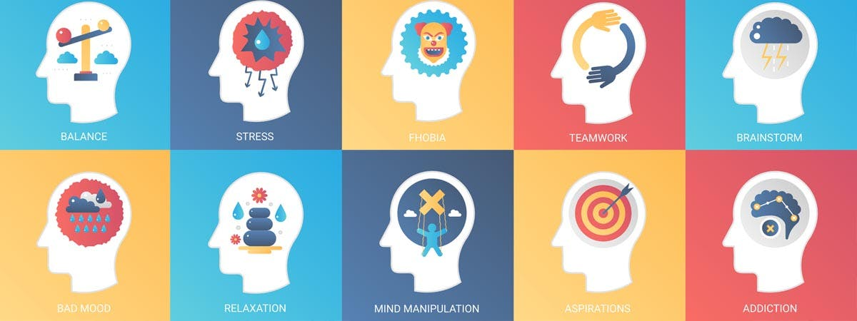 Which Psychology course 1200x450 - Cartoon heads with Psychological descriptions