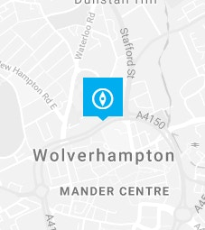 Wolverhampton pin on a map background