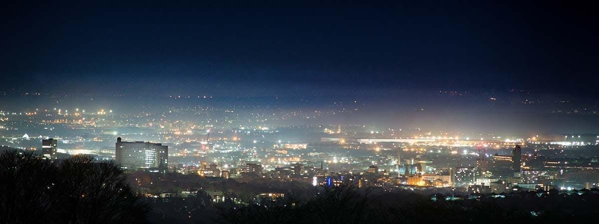 Yorkshire Ripper 1200x450 - Sheffield skyline at night